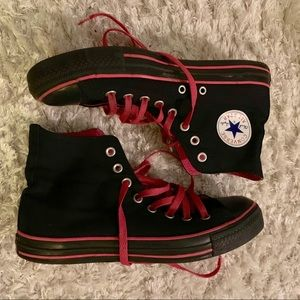 Limited edition black and pink high top converse